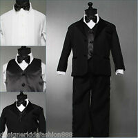 Well tailored toddler baby boy Black tuxedo wedding formal suit party size 4T