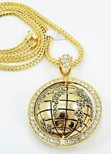 """Hip Hop 3D Icy World Pendant GOLD Plated Necklace 36""""Franco Chain Bling"""