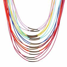 Women Rainbow Color Multi Strand Leather Rope Chain Choker Necklace Bib