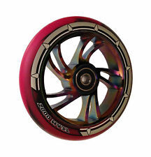 Team Dogz Rainbow Neo Chrome 120mm Scooter Alloy Wheels Mixed 88A PU Red Black