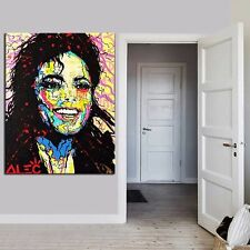 "Alec Monopoly ""Michael Jackson""oil painting on canvas large wall picture 36x24"