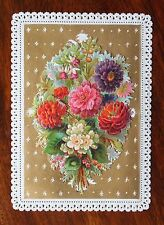 VICTORIAN LACE PAPER GREETINGS CARD SCRAPS LIFT UP BOUQUET HIDDEN WISHES FLOWERS