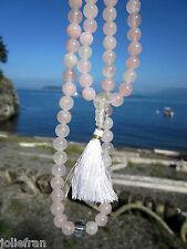 CUSTOM DESIGN USA 8MM ROSE QUARTZ TIBETAN BUDDHIST 108+3 MALA HEART CHAKRA LOVE