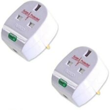 2 x Anti Spike / Surge Protection UK Plug Top - 13 Amp wireable extension plugs