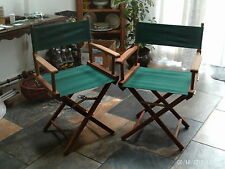 Pair of garden directors chairs - wooden frames, green canvas - unused