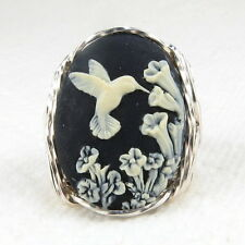 Hummingbird Flower Cameo Ring .925 Sterling Silver Jewelry Black Resin Any Size