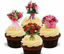 Flowers Bouquet Edible Cup Cake Toppers, Standup Decorations Birthday Mum Female