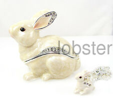 WHITE SNOW BUNNY RABBIT ENAMEL FINE TRINKET BOX includes pendant necklace