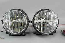 "UNIVERSAL 3"" 12V H3 55W ROUND LED FOG LIGHTS DRIVING LAMPS HARNESS KIT TRUCK CAR"