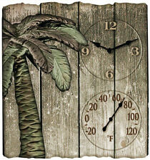 "Taylor Palm Tree 14"" Outdoor Wall Clock & F Thermometer"