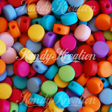 100 8mm Pill Round Rainbow Matte Colors Beads Spacers for Jewelry craft necklace