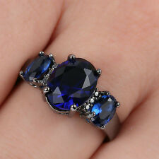 3-Stone Blue sapphire CZ Engagement Size 7.5 Ring 10kt Black Gold filled Womens