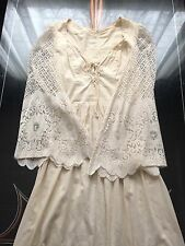 1960s Vintage Gunne Sax Ivory Cotton Angel Sleeve Renaissance Dress~Crochet Lace