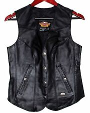 HARLEY DAVIDSON Motorcyle Leather Womens Vest Snap Logo Buttons Sz XS USA NWOT