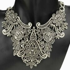 Emma Belle Victorian Metal Lace Bib Necklace Silver US SELLER! Armoire Jolie