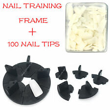 Nail Art Nail  Removable Training Frame  + 100PCS False Tips Practice Tool BLACK