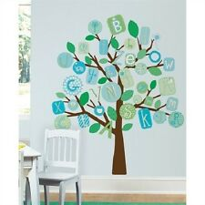 ABC ALPHABET LETTERS TREE wall stickers MURAL 56 decals baby boy nursery BLUE