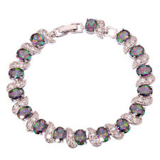 "Rainbow Topaz Zircon Silver Chain Bracelet For Women Jewelry Gems 7 1/4"" NS704"