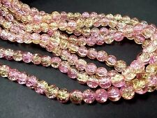 110pcs 8mm CRACKLE Glass Round Beads - PINK & GOLD (1 strand ) Themecrafts