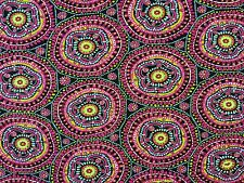 DAKAR MULTI DOUBLE WIDTH FABRIC A9 CURTAINS BLINDS BOHEMIAN PSYCHEDELIC BLACK