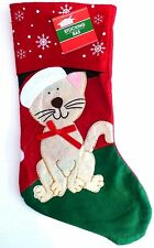 New 16 1/2 Inch Felt Christmas House Family Pet Christmas Stocking ~ Cat Red Bow