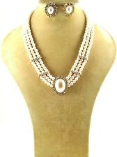 "20"" Adjustable Gold Toned & Cream Pearl Oval Necklace W Matching Stud Earrings"
