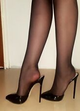 High Heels Stiletto Mules in Schwarz Lack mit 13 cm absatz in Gr. 39