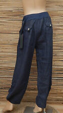 LAGENLOOK LINEN QUIRKY BOHO HAREM OVERSIZE TROUSERS/PANTS*NAVY*SIZE M-L