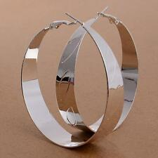 Women 925 Silver Plated Ear Studs Large Round Plain Hoop Earrings