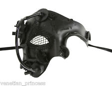 New Steampunk Style Black Phantom of The Opera Mens Half Masquerade Mask SPM005