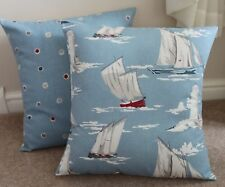 "NAUTICAL SKIPPER, BOATS & LIGHTHOUSES MARINE BLUE CUSHION COVER 17 X 17"" COTTON"