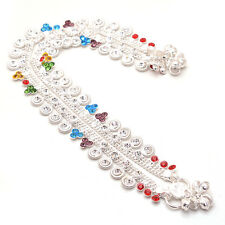 Anklet Multi-Stone Kundan AD Jade Stylish New Designer Silver Plated Payal 6603