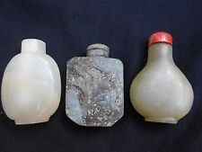 Vintage Serpentine Snuff Bottles (3 pcs lot)