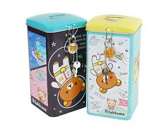 San-X Rilakkuma Metal Square Shape Lock Coin Bank Piggy Bank