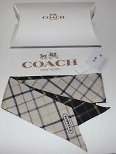 NWT COACH Womens Saffron/Black TATTERSALL Plaid 100% Silk Pony Scarf/Gift Box OS
