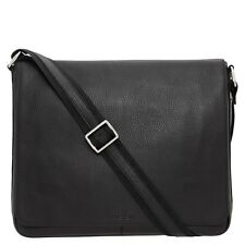 Oroton Men Handbag Bag Messenger Chrysler Large Satchel Leather Black RRP$495