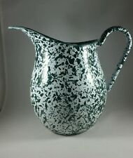 Vintage, Hunter Green/White Splatterware  Enamelware Beverage Pitcher 3 qt, Exc.