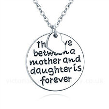 """The Love Between A Mother & Daughter Is Forever"" NECKLACE Sterling Silver Plate"