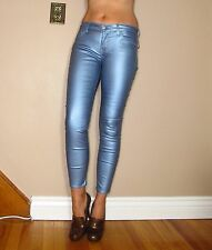 $198 Seven 7 For All Mankind Leather-Look Skinny Metallic Blue Coated Jeans 28