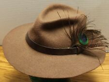 VINTAGE WOOL FELT BROWN MENS HAT WITH PEACOCK FEATHER WESTERN STYLE MEDIUM EUC