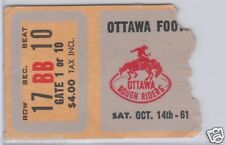 Vintage 1961 Ottawa Rough Riders (Russ Jackson) CFL Football Ticket vs Alouettes