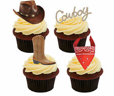 Cowboy Edible Cupcake Toppers, Stand-up Fairy Cake Decorations, Western Men