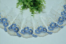 """2 Yards Lace Trim Exquisite Ivory Tulle Blue Flowers Embroidered 3.14"""" Wide"""
