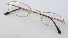 Preiswerte Brillenfassung gold Lesebrille ohne Glas flache Form schmal occhiali