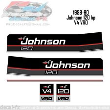 1989 & 1990 Johnson 120 HP V4 VRO Outboard Reproduction 5 Piece Vinyl Decals