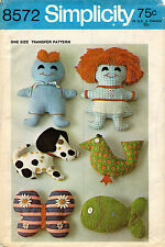 "1960's VTG Simplicity  Transfers for Mini-Menagerie  Pattern 8572  9"" or 11"""