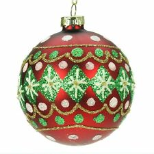 Gisela Graham Traditional Red & Green Glass Christmas Tree Bauble  Decoration