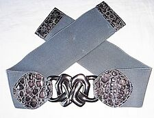 *80S STYLE GUNMETAL FRONT ADORNMENT GREY STRETCH BELT M/L PRESTUDS AT BACK  CHIC