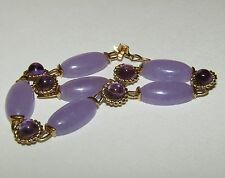 SPLENDID,ART DECO,CHINESE, 9 CT GOLD BRACELET WITH FINE PURPLE JADE AND AMETHYST