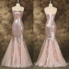 Sexy Sequin Mermaid Long Prom Formal Party Evening Wedding Bridesmaid Gown Dress